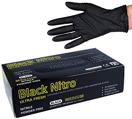 Ultra Fresh Black Nitro Gloves Black Disposable Latex